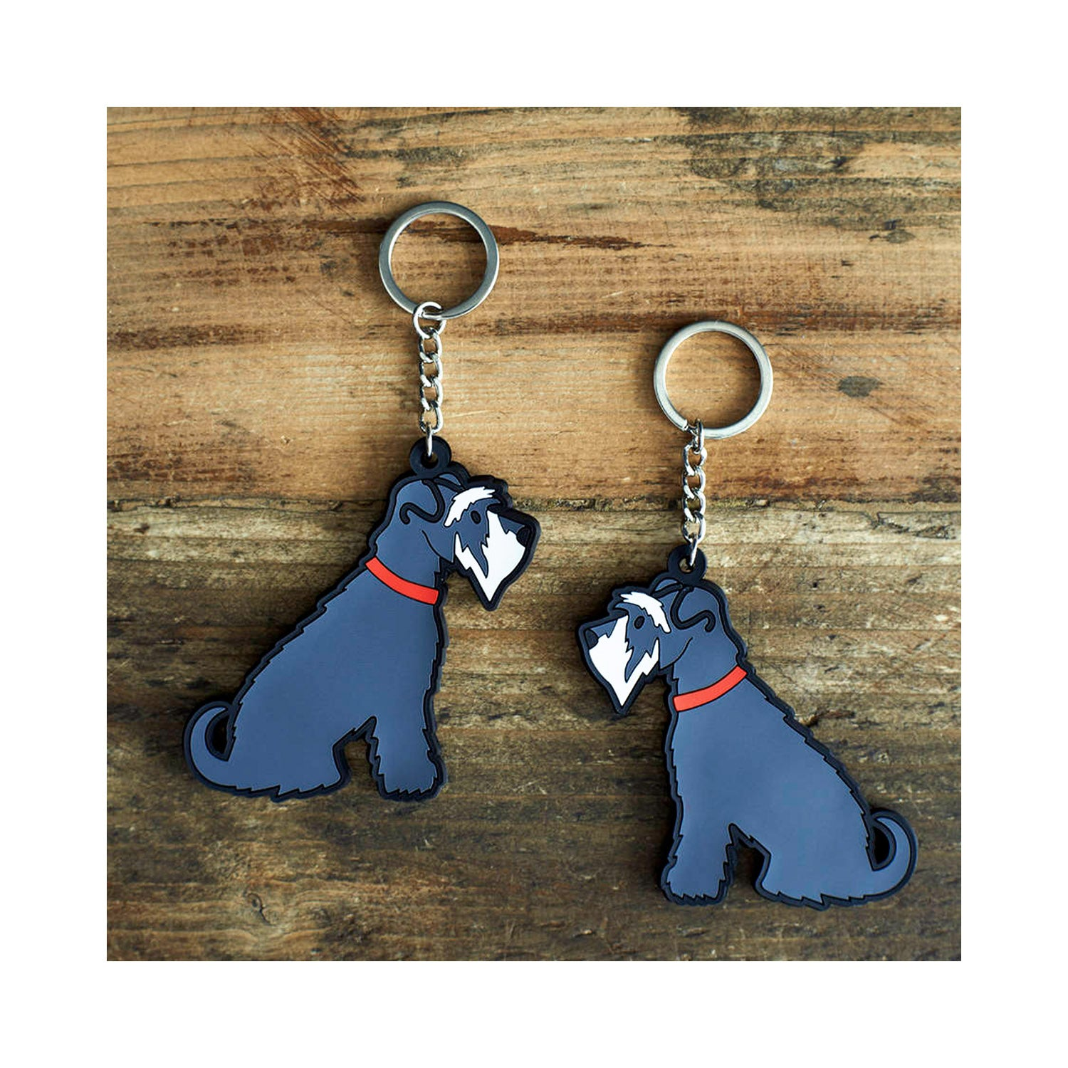 Dog Lover Gifts available at Dog Krazy Gifts - Eddie The Grey & White Schnauzer Keyring - part of the Sweet William range available from Dog Krazy Gifts