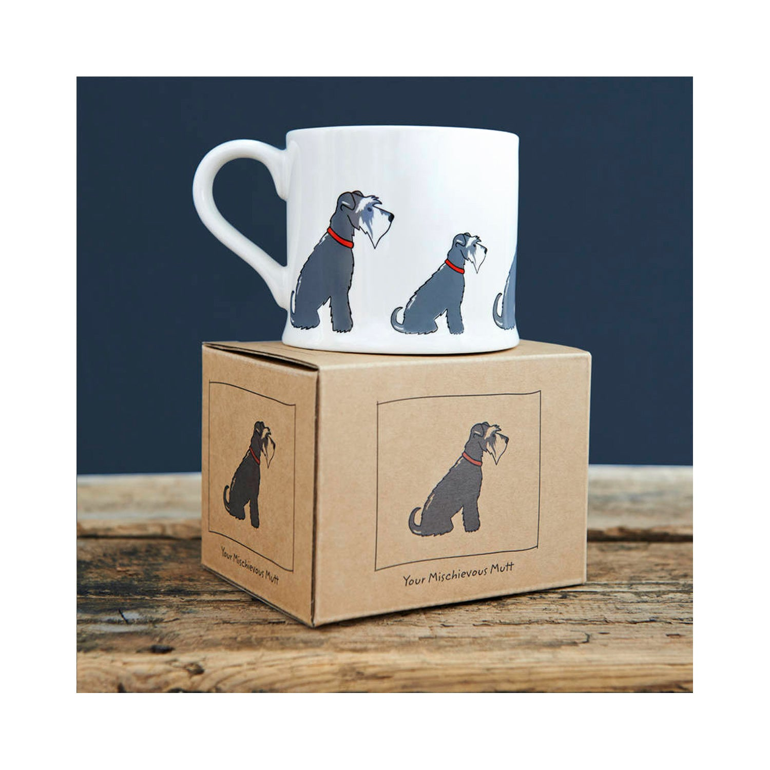 Dog Lover Gifts available at Dog Krazy Gifts - Eddie The Grey & White Schnauzer Mug - part of the Sweet William range available from Dog Krazy Gifts