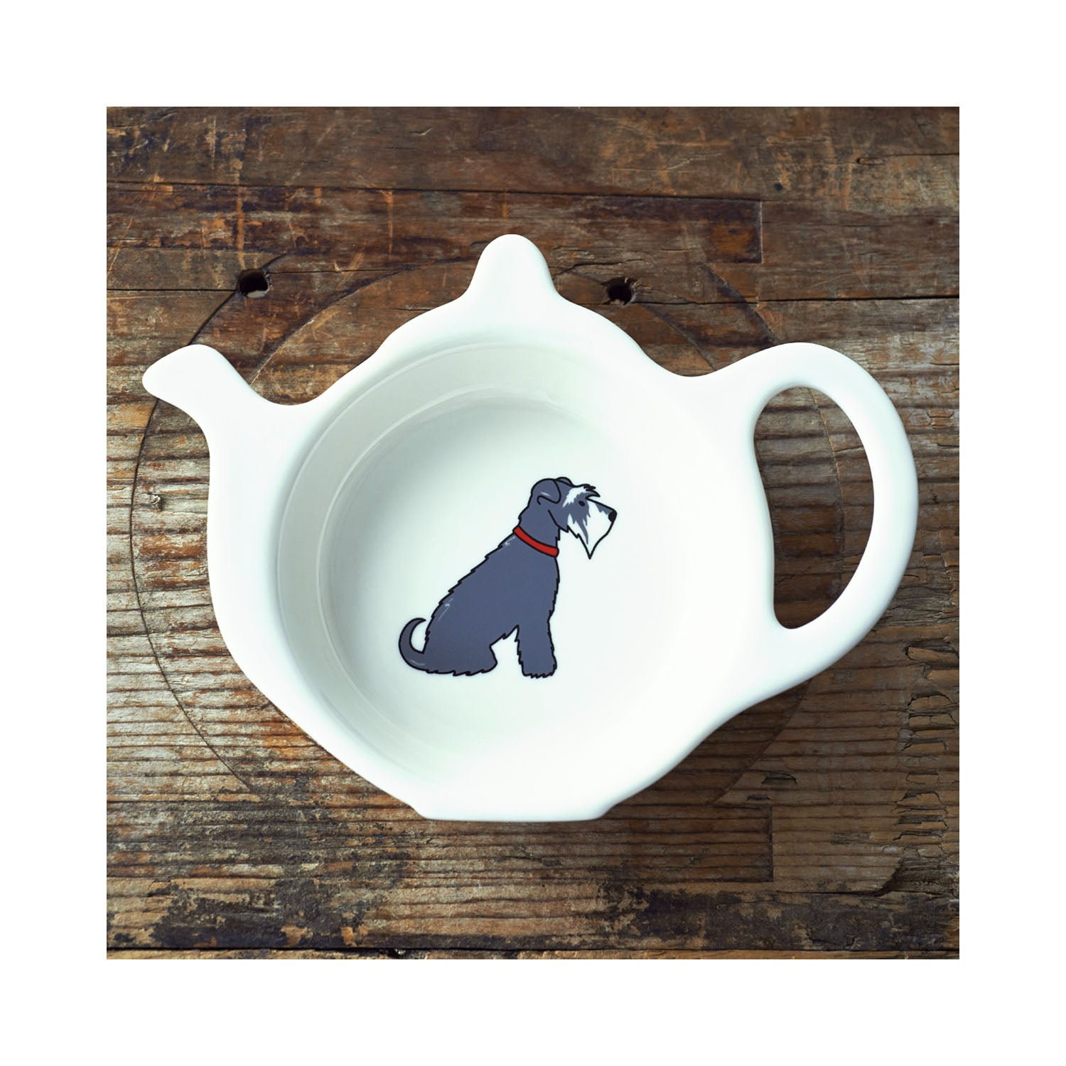 Dog Lover Gifts available at Dog Krazy Gifts - Eddie The Grey & White Schnauzer Teabag Dish - part of the Sweet William range available from Dog Krazy Gifts