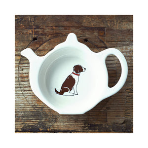 Dog Lover Gifts available at Dog Krazy Gifts - Gaby the Liver & White Springer Spaniel Teabag Dish - part of the Sweet William range available from Dog Krazy Gifts