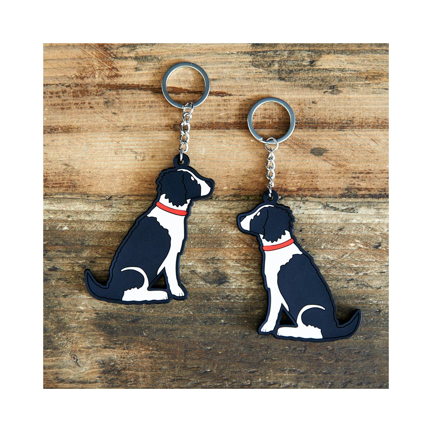 Dog Lover Gifts available at Dog Krazy Gifts  - George The Black & White Springer Spaniel Keyring - part of the Sweet William range available from Dog Krazy Gifts