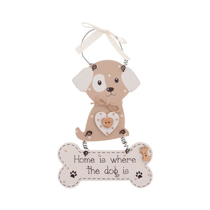 DogKrazyGifts - Faithful Pooch Dangly Dog and Bone - Home is where the dog is - part of the range of Dog Themed Signs available from Dog Krazy Gifts
