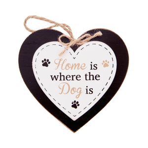 DogKrazyGifts - Doggie Pals Hanging Heart - Home is where the Dog is - part of the range of Dog Themed Signs available from Dog Krazy Gifts