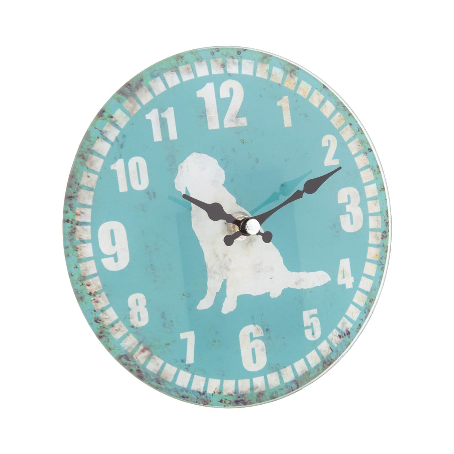 DogKrazyGifts - Golden Retriever Shabby Chic Glass Clock, part of the Golden Retriever range available from DogKrazyGifts.co.uk