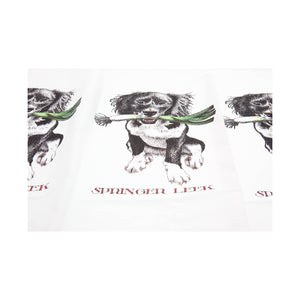 Dog Krazy Gifts - Springer Leek Tea Towel - Part of the Simon Drew dog collection available from DogKrazyGifts.co uk