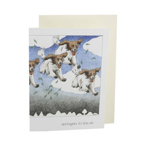 Dog Lover Cards, Gifts and merchandise available at Dog Krazy Gifts - Springers In The Air Card - Part of the Simon Drew dog collection available from Dog Krazy Gifts