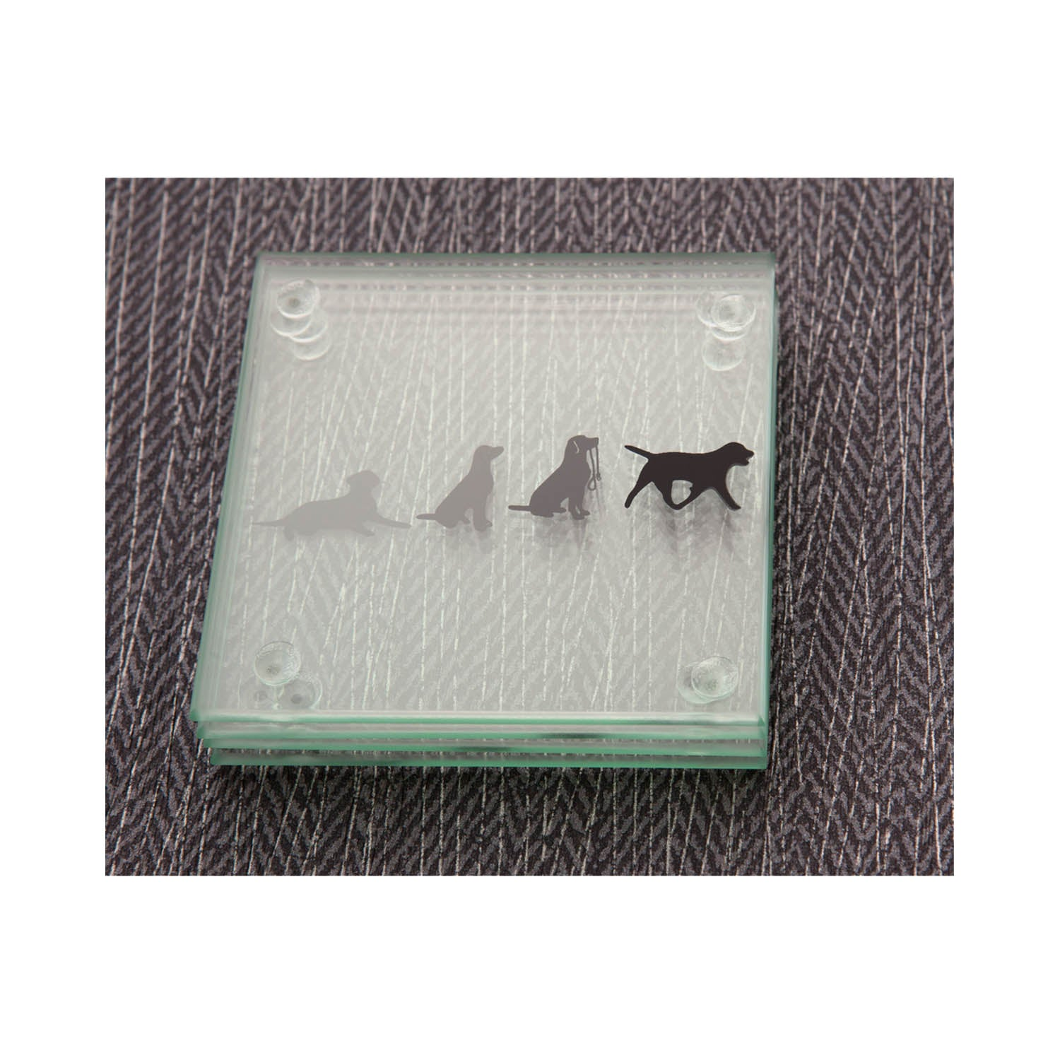 Dog Lover Gifts available at Dog Krazy Gifts - Black Labrador Glass Story Coasters- Part of the Labrador range available from Dog Krazy Gifts