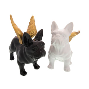 Dog Lover Gifts available at Dog Krazy Gifts – French Bulldog With Gold Wings Money box in Black or White – High gloss ceramic part of the French Bulldog Range available from DogKrazyGifts.co.uk