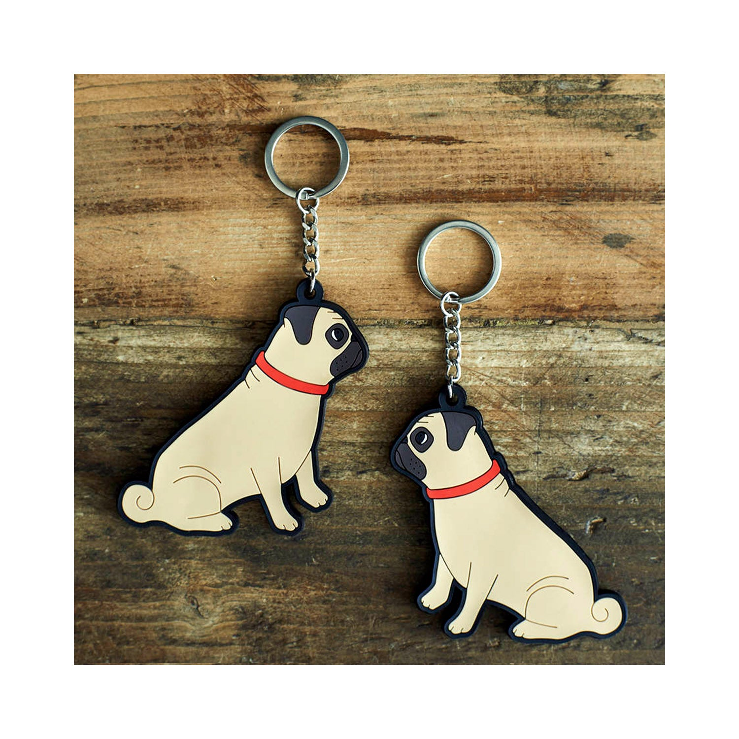 Dog Lover Gifts available at Dog Krazy Gifts - Winston The Fawn Pug Keyring - part of the Sweet William range available from Dog Krazy Gifts