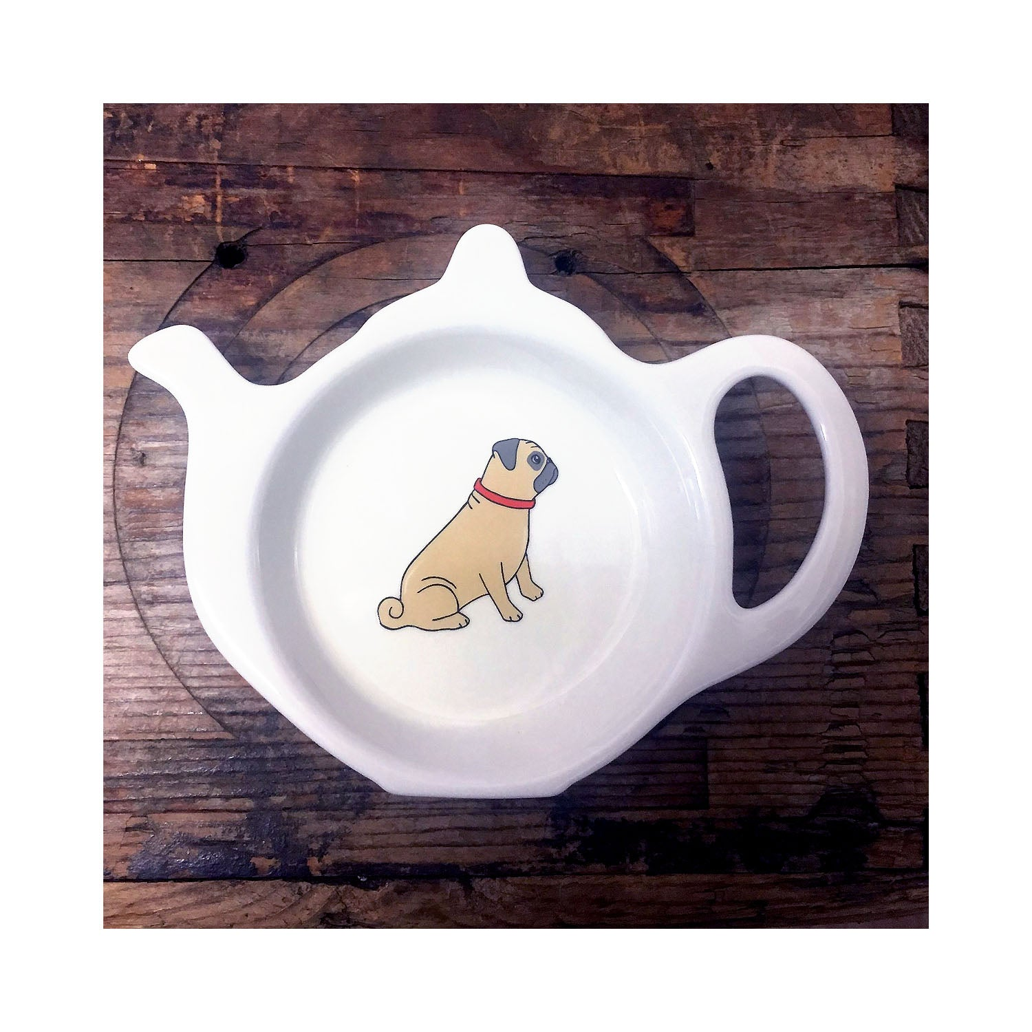 Dog Lover Gifts available at Dog Krazy Gifts - Winston The Pug Teabag Dish - part of the Sweet William range available from Dog Krazy Gifts
