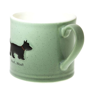 Dog Lover Gifts – Bailey & Friends shabby chic black Scottie Dog – 150ml espresso mug. Part of the Bailey & Friends range of mugs available from Dog Krazy Gifts