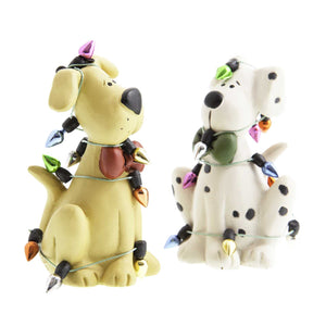 Dog Krazy Gifts -Pair of dogs tangled in Xmas Tree Lights part of our Christmas range