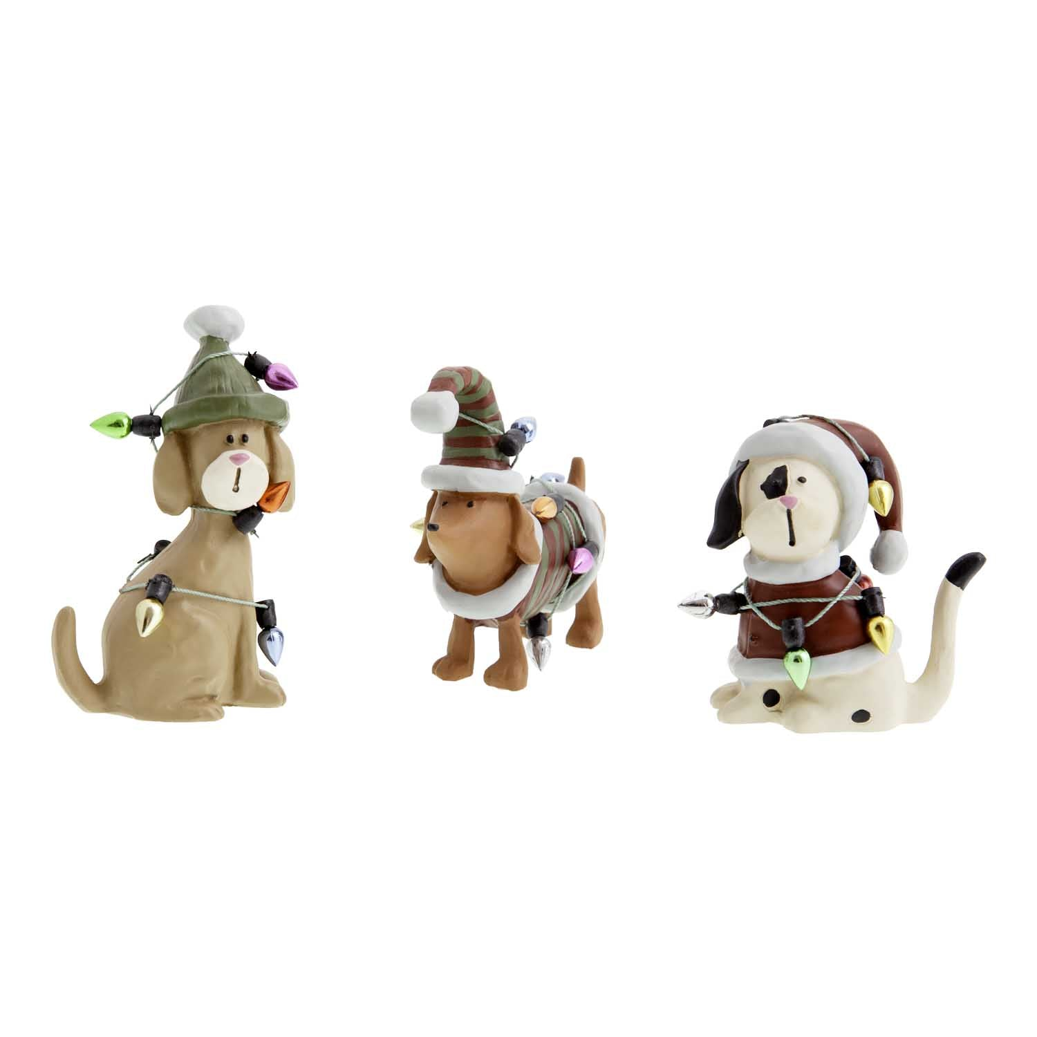 Dog Krazy Gifts - 3 dogs tangled in Xmas tree lights part of our Christmas range