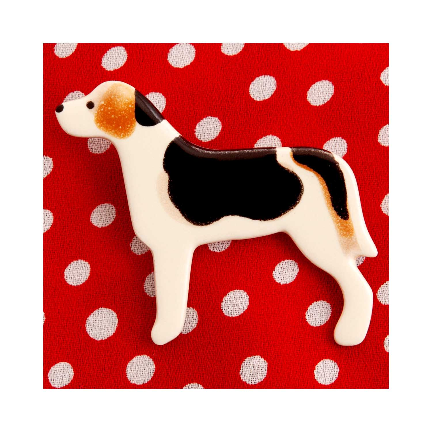 Dog Lover Gifts available at Dog Krazy Gifts – Ceramic Beagle Brooch by Mary Goldberg of Stockwell Ceramics, Just Part Of Our Collection Of Beagle Themed Gifts, Available At www.dogkrazygifts.co.uk