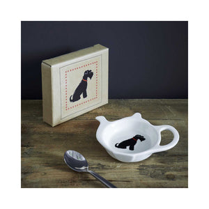 Dog Lover Gifts available at Dog Krazy Gifts - Ernie The Black Schnauzer Teabag Dish - part of the Sweet William range available from Dog Krazy Gifts