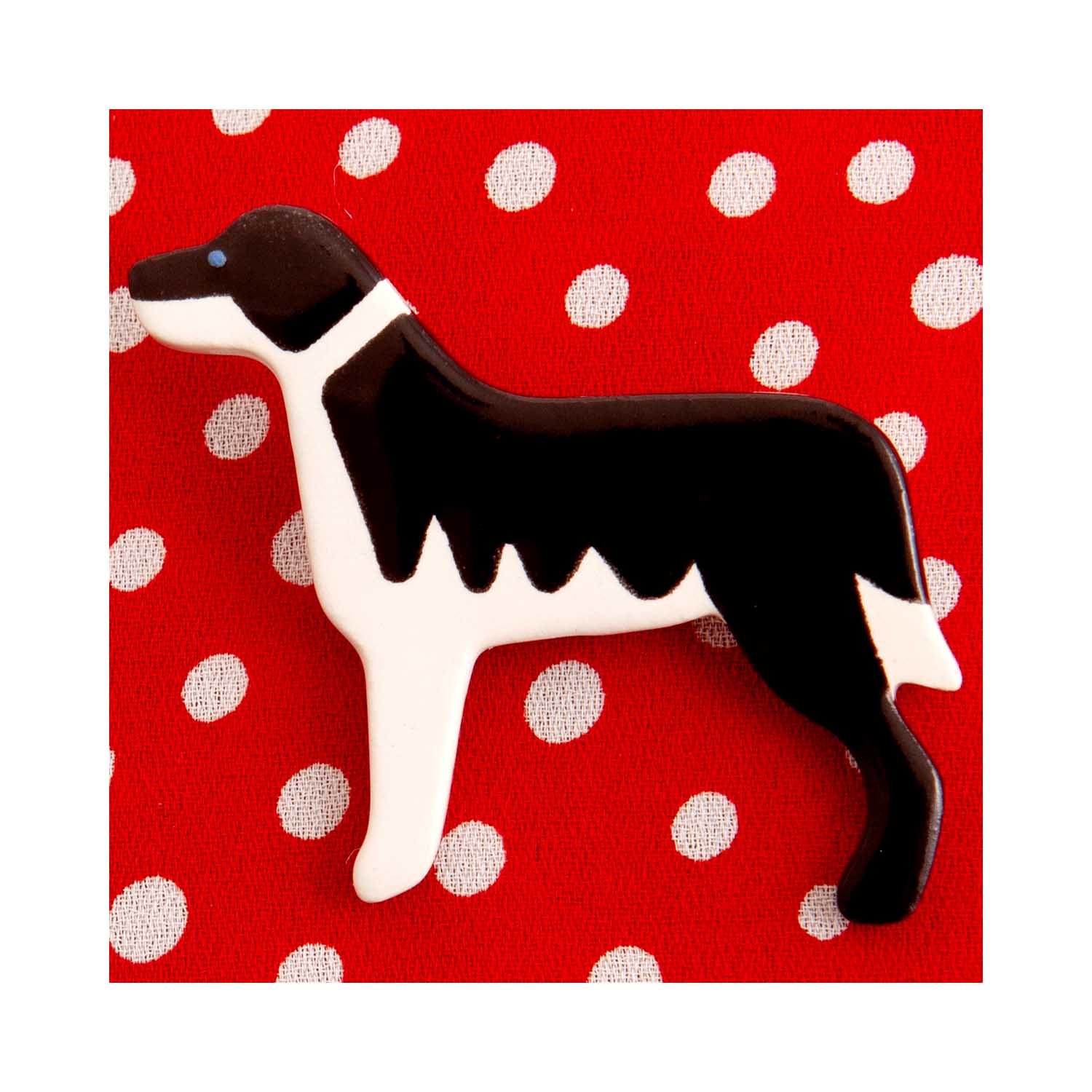 Dog Lover Gifts available at Dog Krazy Gifts – Ceramic Border Collie Brooch by Mary Goldberg of Stockwell Ceramics, Just Part Of Our Collection Of Collie Dog Themed Gifts, Available At www.dogkrazygifts.co.uk