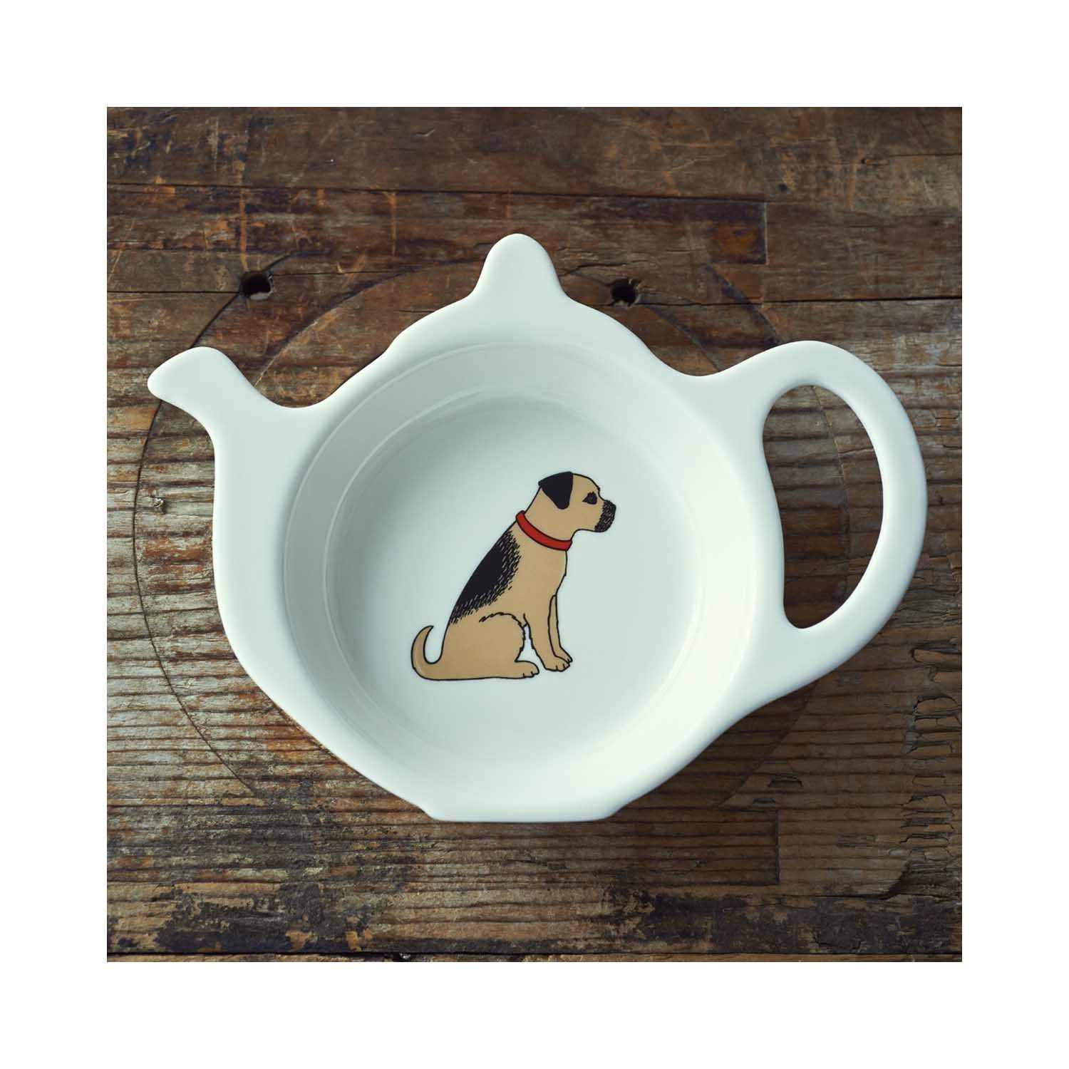 Dog Lover Gifts available at Dog Krazy Gifts - Bertie the Border Terrier Teabag Dish - part of the Sweet William range available from www.DogKrazyGifts.co.uk