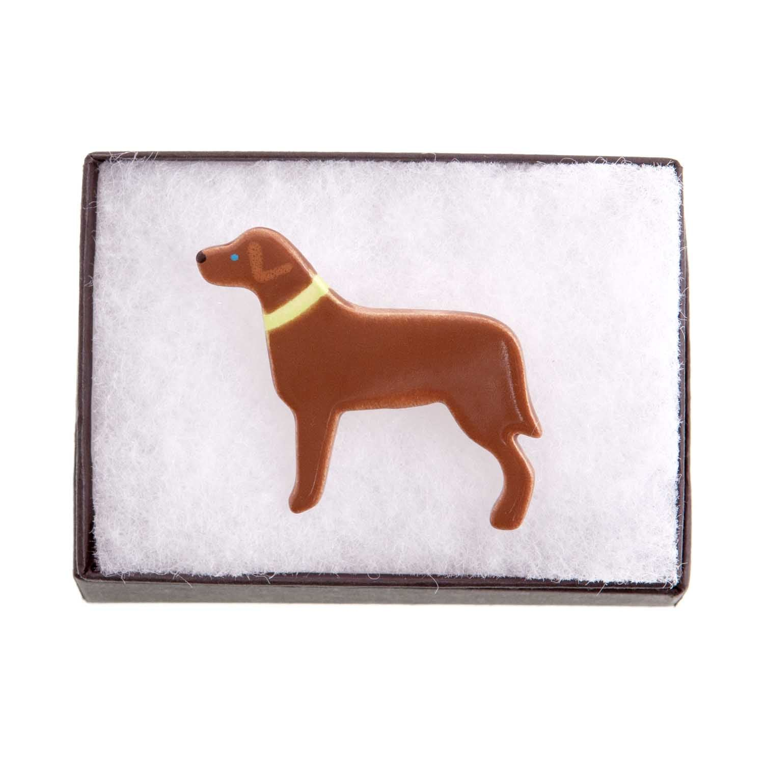 Dog Lover Gifts available at Dog Krazy Gifts – Ceramic Chocolate Labrador Brooch by Mary Goldberg of Stockwell Ceramics, Just Part Of Our Collection Of Labrador Themed Gifts, Available At www.dogkrazygifts.co.uk
