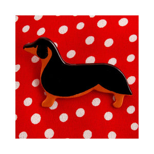 Dog Lover Gifts available at Dog Krazy Gifts – Ceramic Dachshund Brooch by Mary Goldberg of Stockwell Ceramics, Just Part Of Our Collection Of Dachsie Themed Gifts, Available At www.dogkrazygifts.co.uk