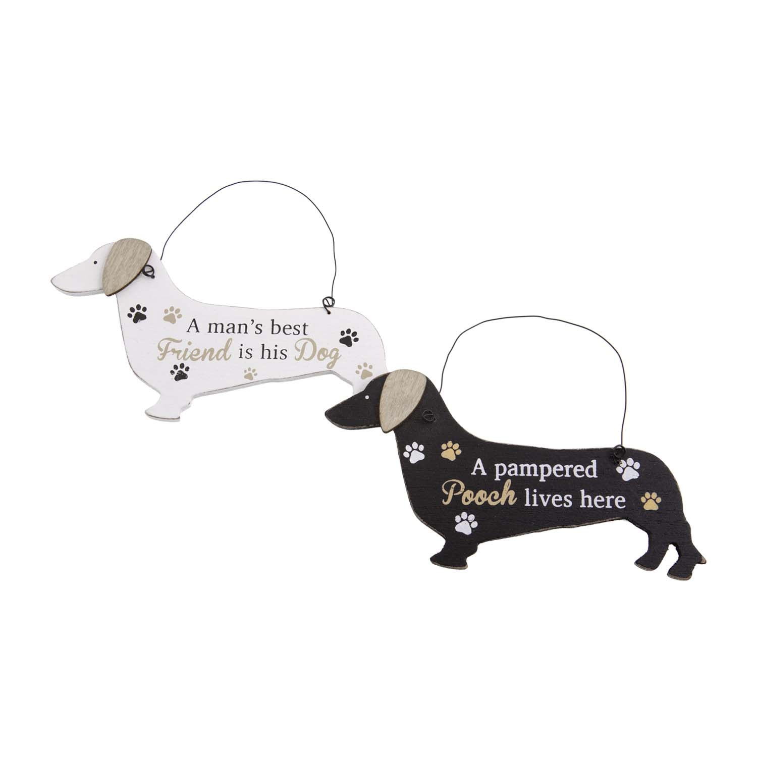Dog Lover Gifts – White Dachshund Hanging Sign - Mans Best Friend, Just Part Of Our Collection Of Signs Available At www.dogkrazygifts.co.uk