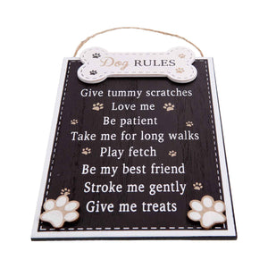 Dog Krazy Gifts - Dog Rules Plaque In Black, The Rules According To The Dog, Part Of The Wide Range of Dog Signs available from DogKrazyGifts.co.uk