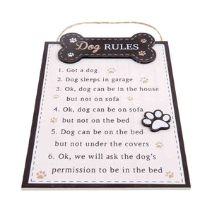 Dog Krazy Gifts - Dog Rules Plaque In White, The Real Rules Of Dog Ownership, Part Of The Wide Range of Dog Signs available from DogKrazyGifts.co.uk