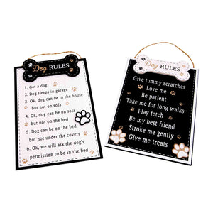 Dog Krazy Gifts - Dog Rules Plaque In Black And In White, Part Of The Wide Range of Dog Signs available from DogKrazyGifts.co.uk