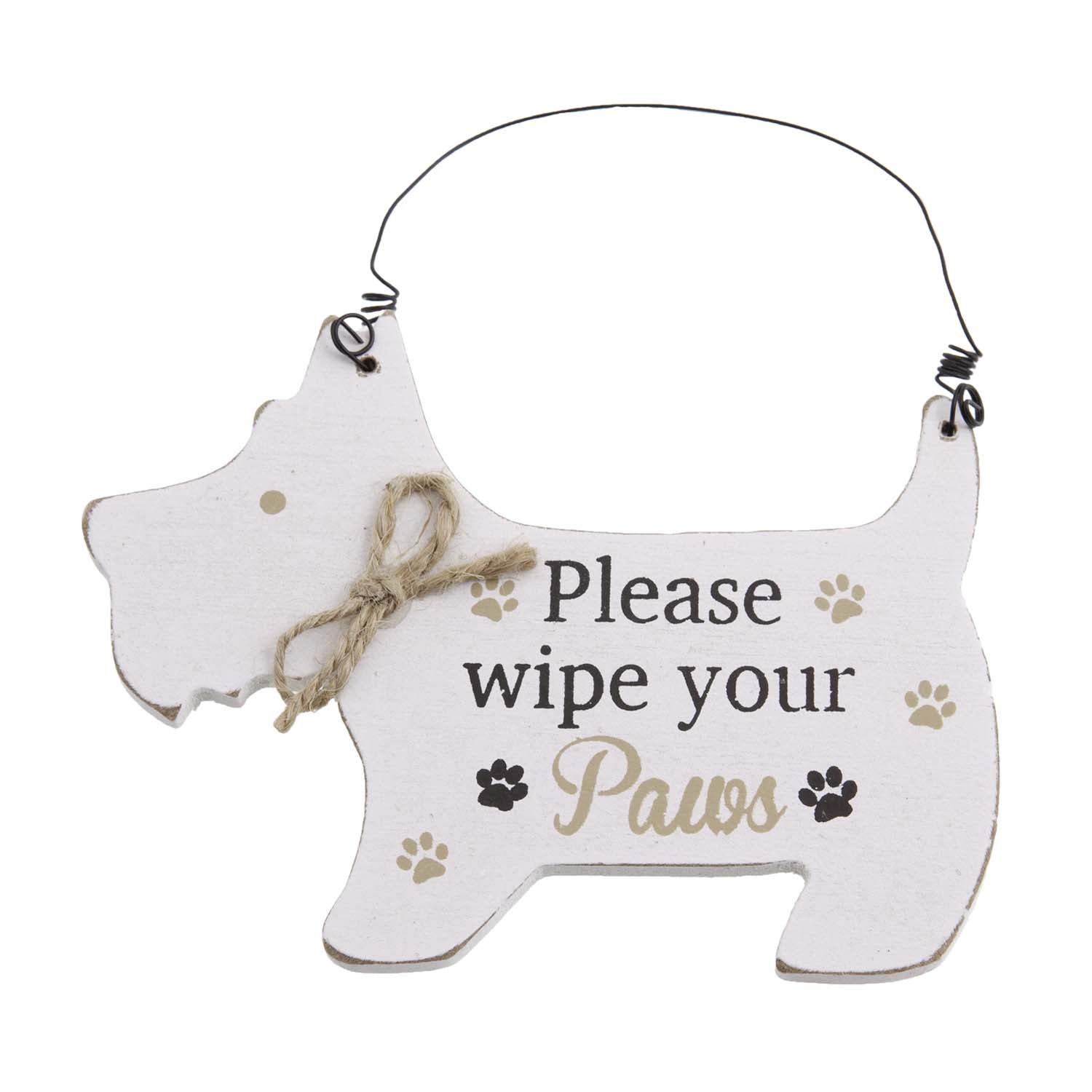 Dog Lover Gifts – White Westie Hanging Sign - Wipe Your Paws, Just Part Of Our Collection Of Signs Available At www.dogkrazygifts.co.uk