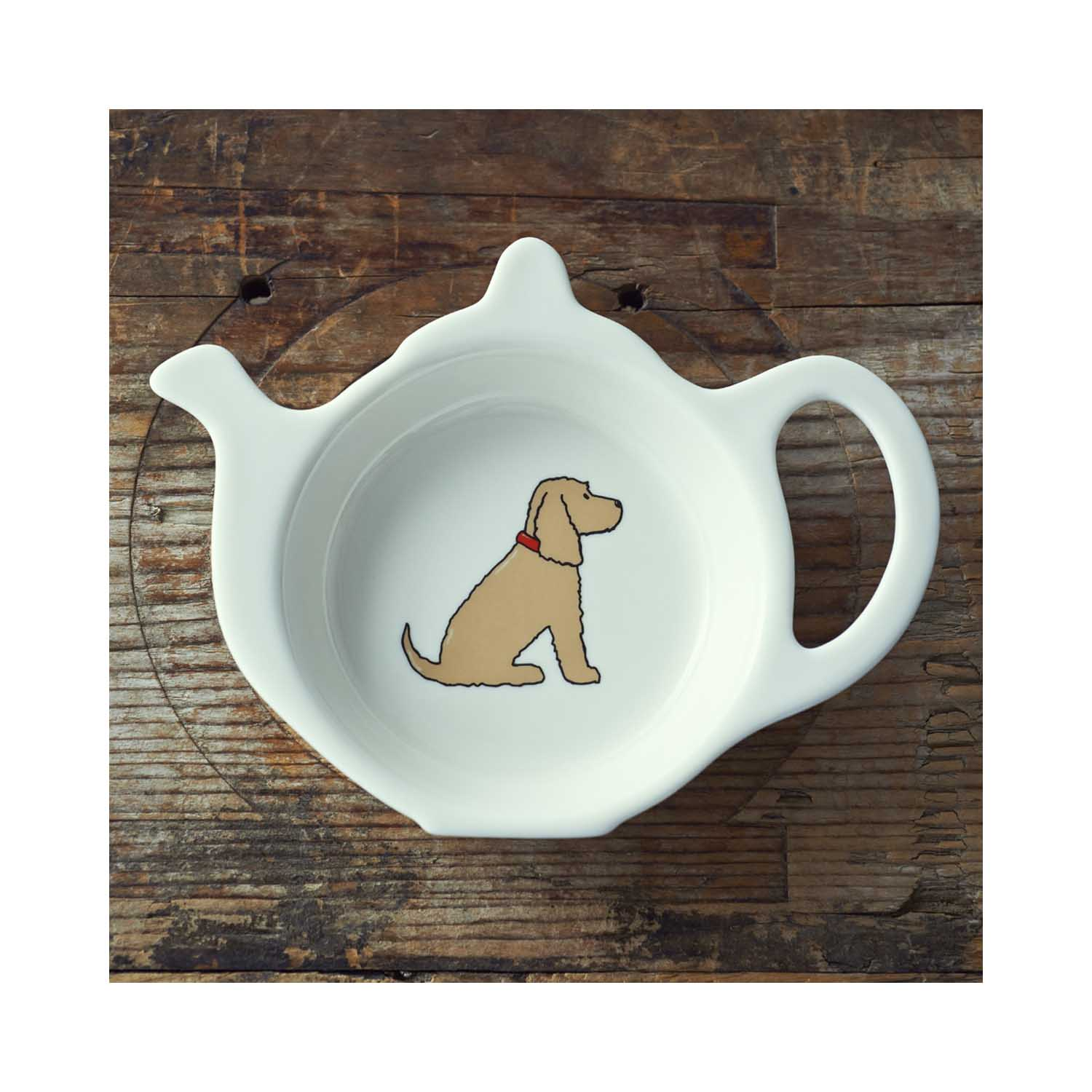 Dog Lover Gifts available at Dog Krazy Gifts - Hetty the Golden Cocker Spaniel Teabag Dish - part of the Sweet William range available from www.DogKrazyGifts.co.uk
