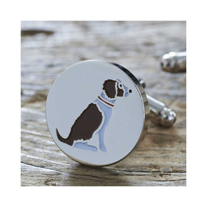Dog Lover Gifts available at Dog Krazy Gifts - Gaby The Liver & White Springer Spaniel Cufflink and Dog Tag Set - part of the Sweet William range available from DogKrazyGifts.co.uk