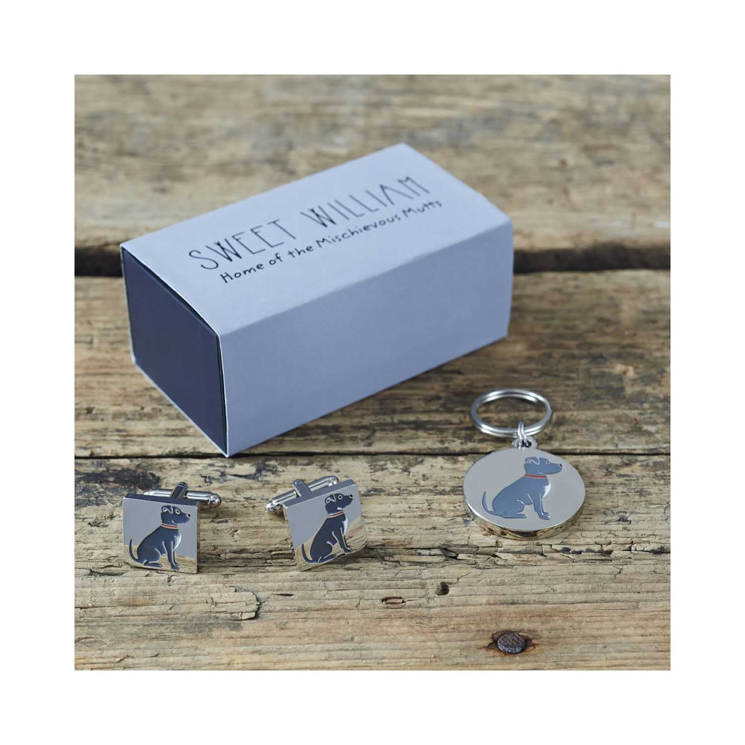 Dog Lover Gifts available at Dog Krazy Gifts - Bree the Staffordshire Bull Terrier cufflink and dog ID set - part of the Sweet William range available from www.DogKrazyGifts.co.uk