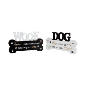 Dog Krazy Gifts - Standing Bone Signs In Black And White, Part Of The Wide Range of Dog Signs available from DogKrazyGifts.co.uk
