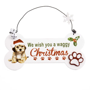DogKrazyGifts - Waggy Christmas Bone Sign - part of the Christmas range of Dog Themed Gifts available from Dog Krazy Gifts