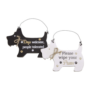 Dog Lover Gifts – Black Westie Hanging Sign - Dogs Welcome, Just Part Of Our Collection Of Signs Available At www.dogkrazygifts.co.uk
