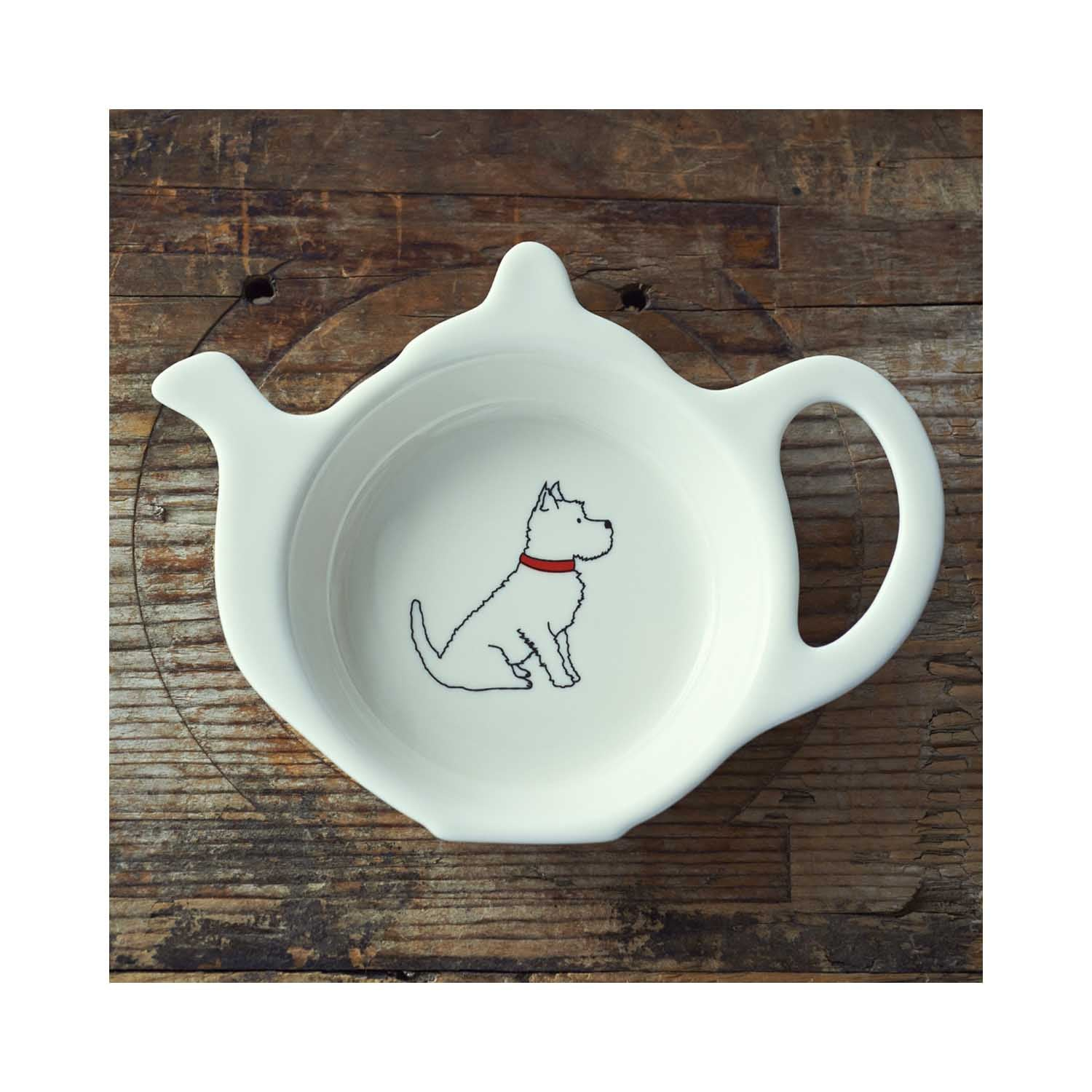 Dog Lover Gifts available at Dog Krazy Gifts - Frank the Westie Teabag Dish - part of the Sweet William range available from www.DogKrazyGifts.co.uk