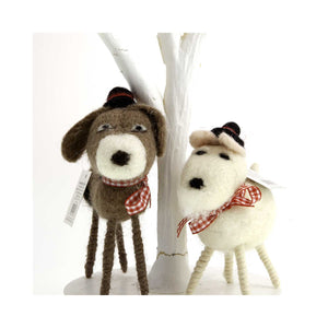 Dog Krazy Gifts - Woollen Brown and White Dog Ornaments, Part Of The Christmas collection available from DogKrazyGifts.co.uk