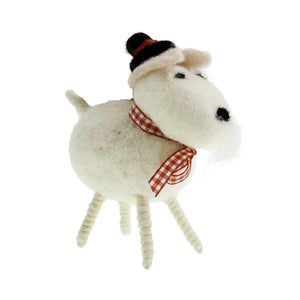 Dog Krazy Gifts - Woollen White Dog Ornament, Part Of The Christmas collection available from DogKrazyGifts.co.uk