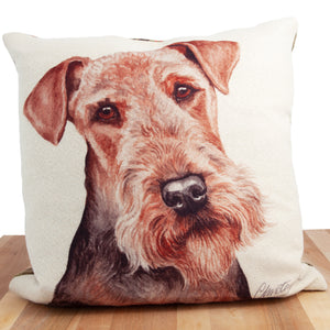 Dog Lover Gifts available at Dog Krazy Gifts. Airedale Cushion, part of our Christine Varley collection – available at www.dogkrazygifts.co.uk