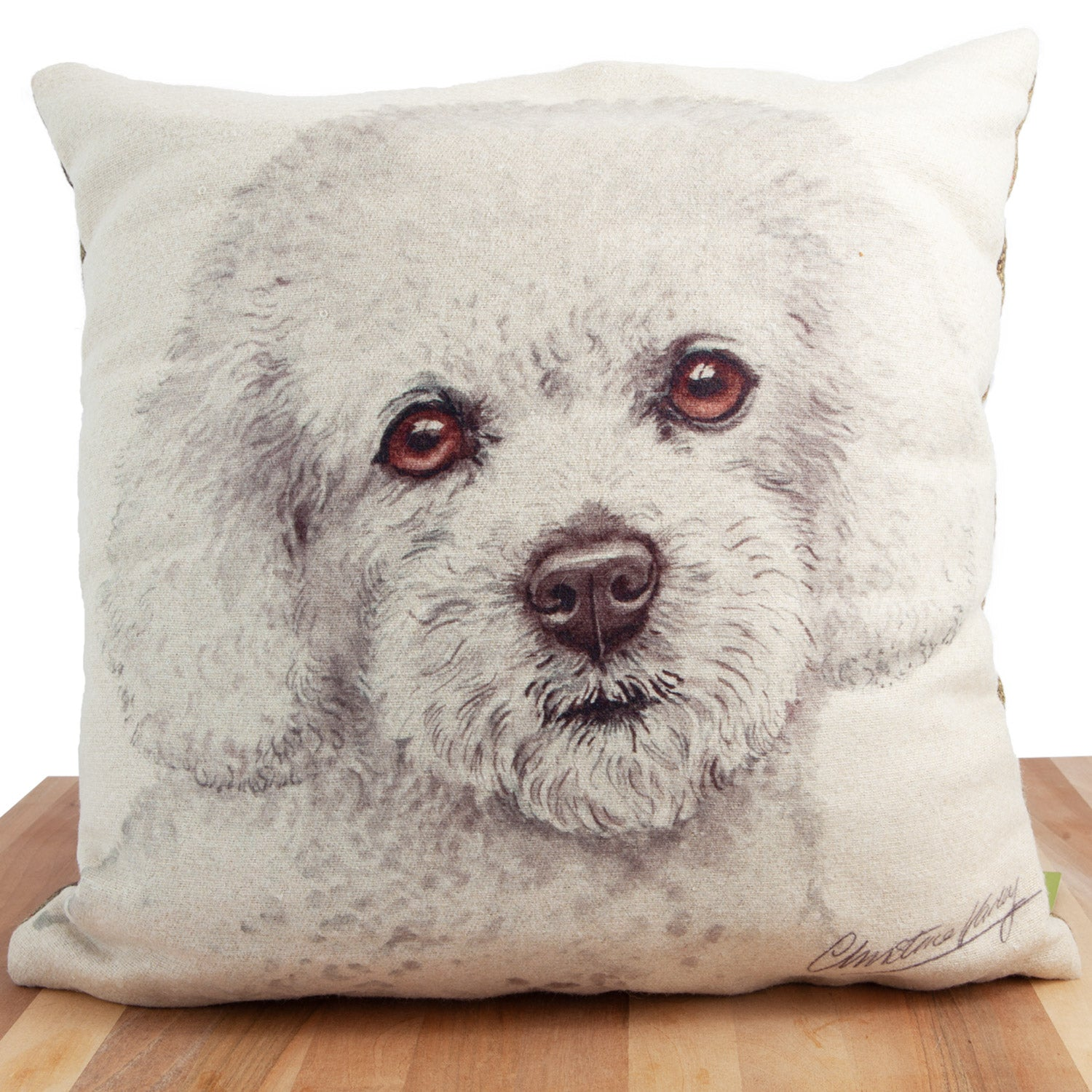 Dog Lover Gifts available at Dog Krazy Gifts. Bichon Frise Cushion, part of our Christine Varley collection – available at www.dogkrazygifts.co.uk