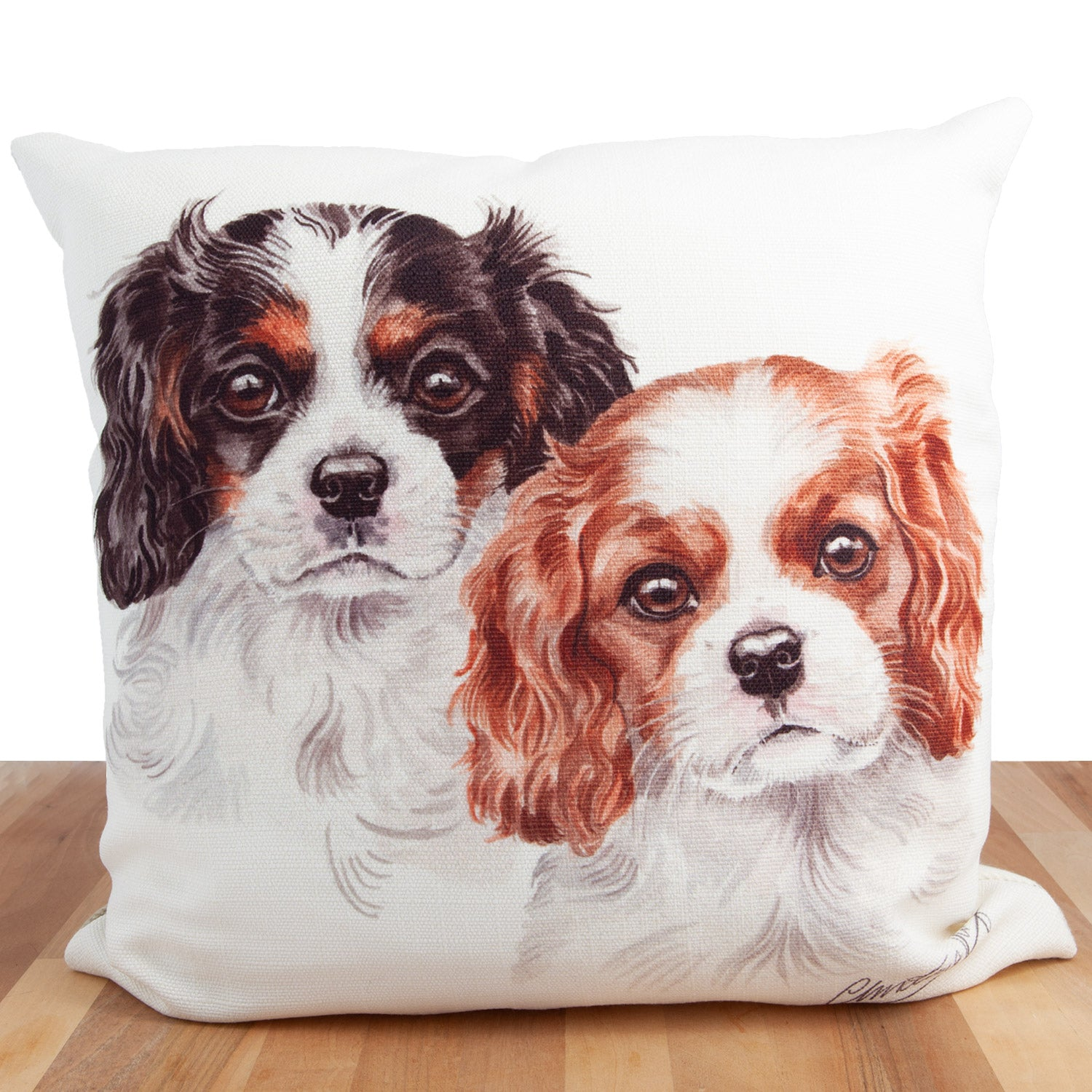 Dog Lover Gifts available at Dog Krazy Gifts. Cavalier King Charles Cushion, part of our Christine Varley collection – available at www.dogkrazygifts.co.uk