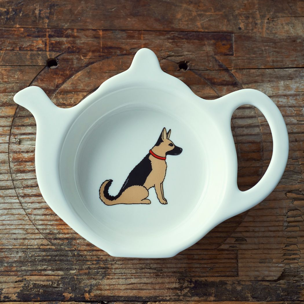 Dog Lover Gifts available at Dog Krazy Gifts – Sebastian the German Shepherd Teabag Dish - part of the Sweet William range available from www.DogKrazyGifts.co.uk