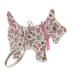 DogKrazy.Gifts –Pink Floral Scottie Dog Keyring –Extremely cute comes in six colourways, and makes a great gift for a Scottie Dog (or Westie) fan. Part of the range of Scottie Dog and Westie  gifts available from Dog Krazy Gifts
