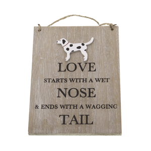 "DogKrazy.Gifts – Bailey & Friends Inspirational Shabby Chic sign. ""Love starts with a wet nose and ends with a wagging tail"""