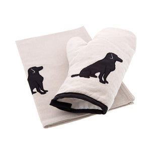 Dog Lover Gifts available at Dog Krazy Gifts - Black Labrador motif on cream oven glove shown here with the Black Dog Tea Towel available seperately, both are part of the Black Dog range available from Dog Krazy Gifts