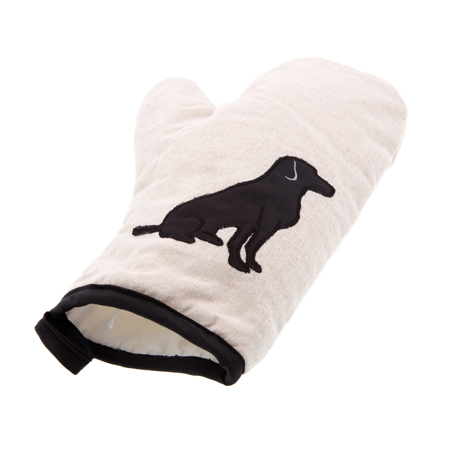 Dog Lover Gifts available at Dog Krazy Gifts - Black Labrador motif on cream oven glove, part of the Black Dog range available from Dog Krazy Gifts