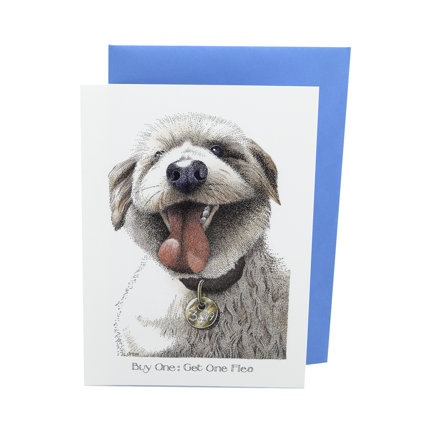 Dog Lover Cards, Gifts and merchandise available at Dog Krazy Gifts – Simon Drew Buy One Get One Flea, Humorous card featuring a Cockerpoo. Part ofthe Simon Drew Dog Collection available from Dog Krazy Gifts