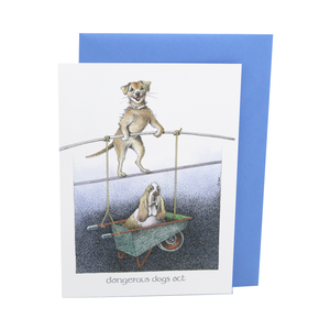 DogKrazy.Gifts – Simon Drew Dangerous Dogs Act, Humorous card featuring a Terrier and a Basset Hound on a high wire.