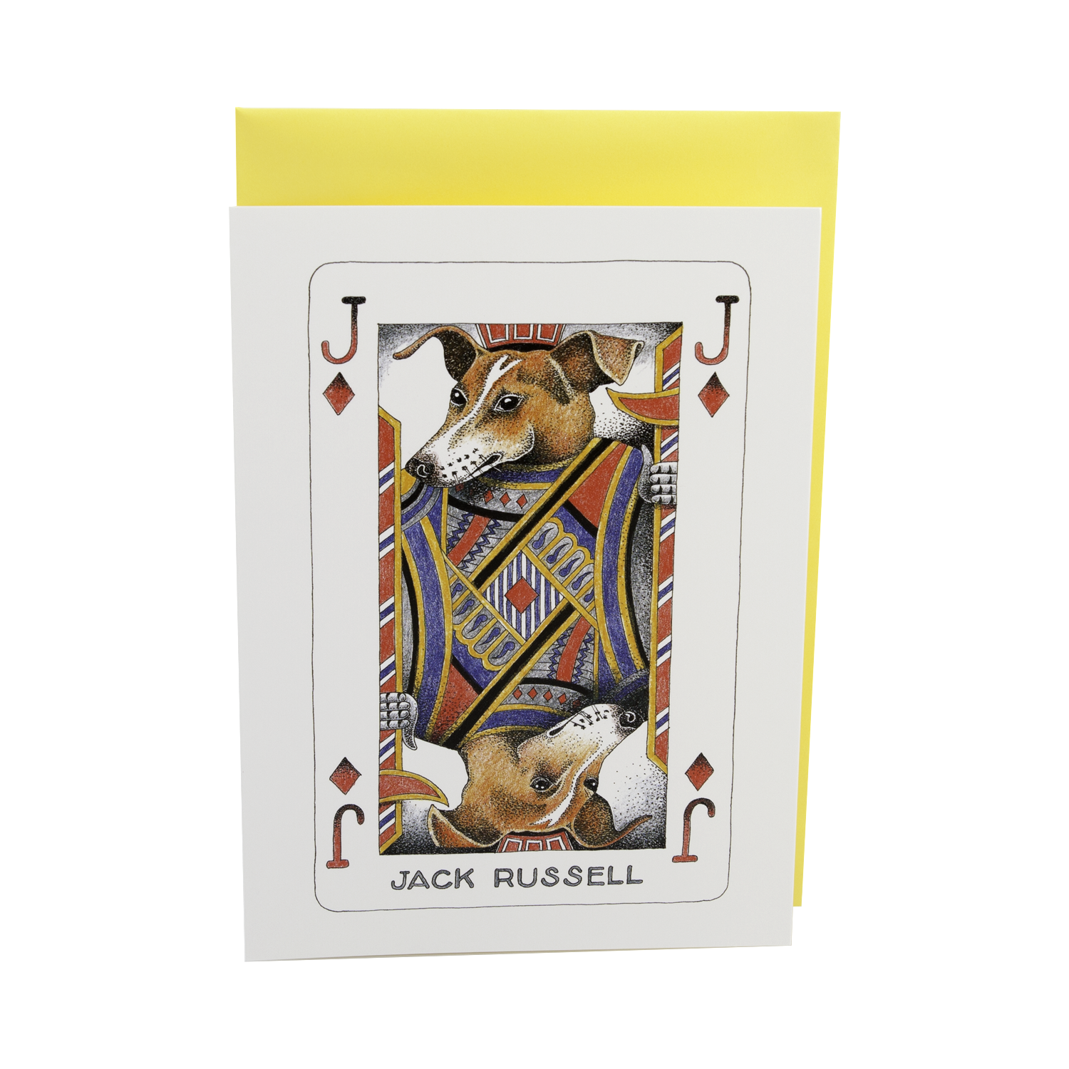 DogKrazy.Gifts – Simon Drew Jack Russell, Humorous card featuring a Jack Russell as the Jack of Diamonds. Part of the Simon Drew Dog Collection available from Dog Krazy Gifts