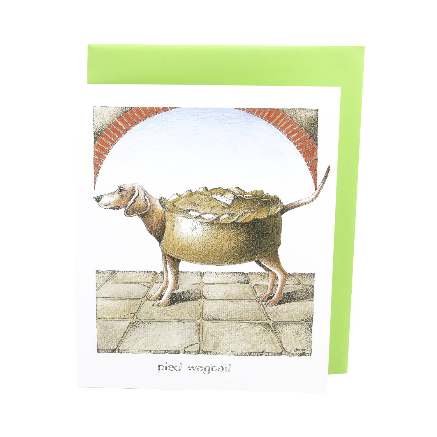 DogKrazy.Gifts – Simon Drew Pied Wagtail Humorous card featuring a dog so full of treats it's turned into a pie. Part of the Simon Drew Dog Collection available from Dog Krazy Gifts