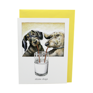 DogKrazy.Gifts – Simon Drew Straw Dogs Card. Funny card showing a pair of Dachshunds drinking from straws. Part of the Simon Drew Dog Collection available from Dog Krazy Gifts